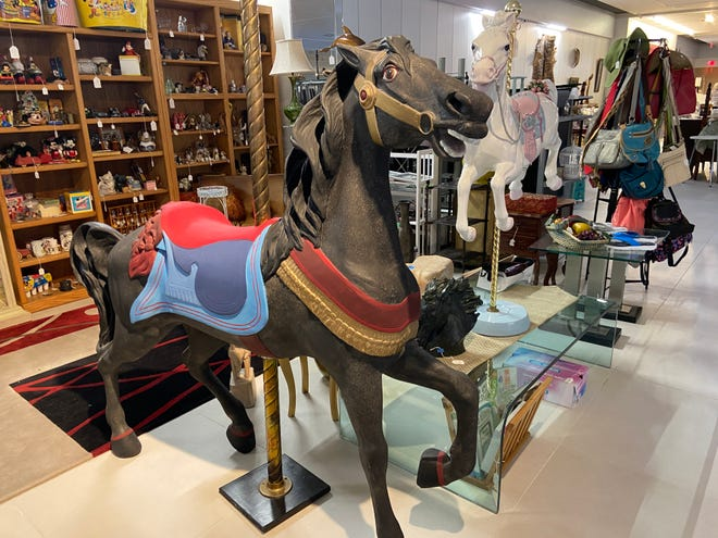Carousel horses at Your Treasure House at the Sarasota Square mall. The store moved from the DeSoto Square Mall last year – just in time for the pandemic to disrupt its business.