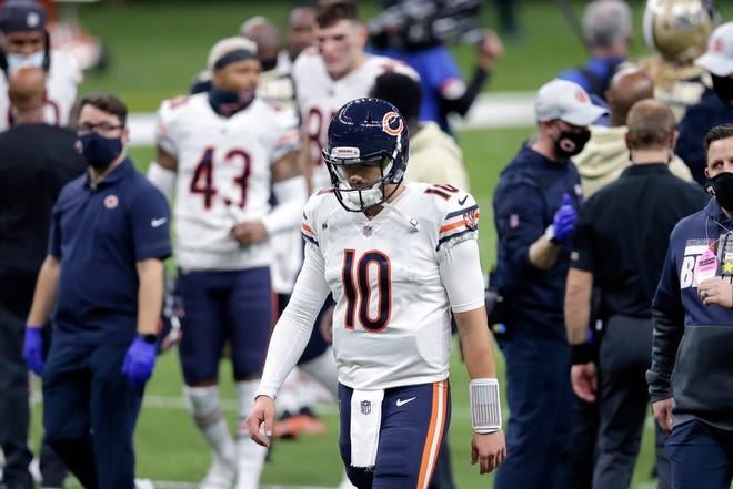 Chicago Bears quarterback Mitchell Trubisky (10) walks off the field a loss to New Orleans New Orleans on Sunday. [Brett Duke/The Associated Press]