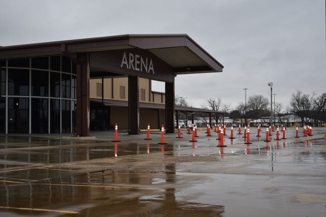 Four lanes are set up outside of the Citizen Potawatomi Nation's (CPN) FireLake Arena, as the area continues Phase 2 of COVID-19 vaccine distribution. Appointments can be made online at vaccinate.oklahoma.gov and distribution is set up for Thursdays from 9 a.m. to 4 p.m. at the arena.