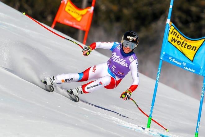 Switzerland's Lara Gut-Behrami speeds down the course during an alpine ski, women's World Cup super-G in St. Anton, Austria, Sunday, Jan.10, 2021.