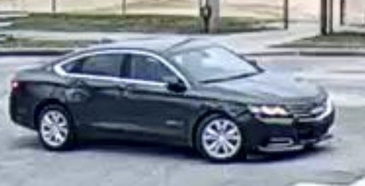 This dark-in-color newer model (2014-2020) Chevrolet Impala is believed to be involved in a hit-and-run involving a 16-year-old boy.