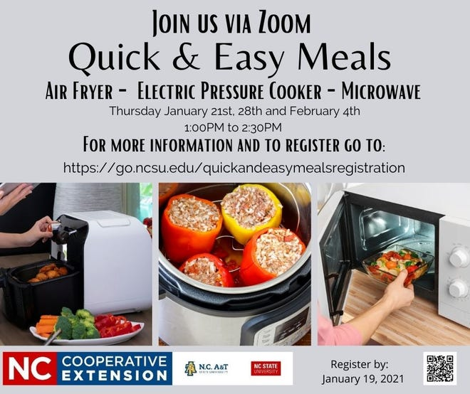 Quick & Easy Meals program will be held virtual on Thursdays, Jan. 21, 28 and Feb. 4.