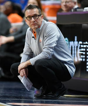 Connecticut Sun head coach Curt Miller during a preseason WNBA basketball game in 2018 in Uncasville, Conn.