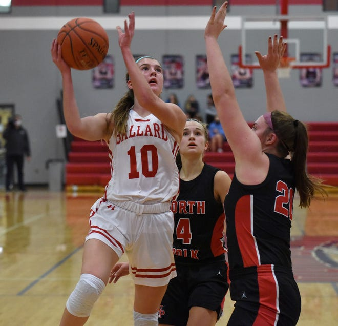 Brooke Loewe goes up for two of her 15 points for the No. 2 (4A) Ballard girls' basketball team in a 49-30 victory over North Polk Jan. 5 at Huxley.