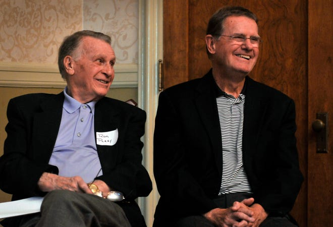 Former Holy Cross men's basketball coach George Blaney, right, shown with former Holy Cross athletic director Ron Perry in 2013, reflected on what losing a friend like Dee Rowe meant to him.
