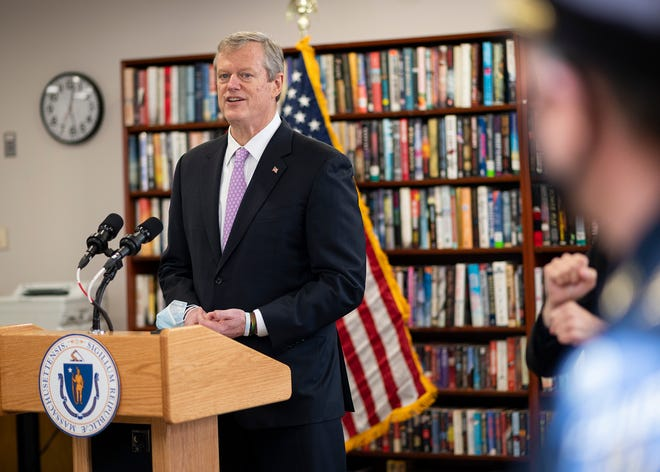 Gov. Charlie Baker speaks during a tour of the vaccination setup at the Worcester Senior Center in January.