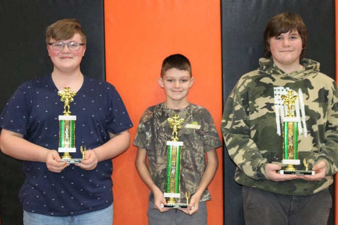 Winners in the annual Rachel B. Stoffer Spelling Bee at the Newcomerstown Middle School were: Samuel McKnight, (left) third; Jaxson Mayo, first; and Gunner Mitchell, second.