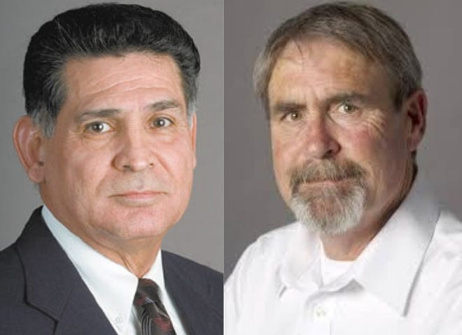 Larry Atencio (left) was voted the Pueblo City Council president on Monday. Mark Aliff (right) was voted vice president.