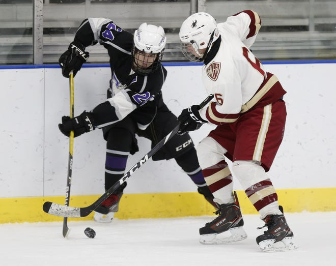 """Sophomore A.J. Cagnina (left) has emerged as the leader of DeSales' defense even though he had """"never played defense before."""" He also led the Stallions' offense with nine goals through eight games."""