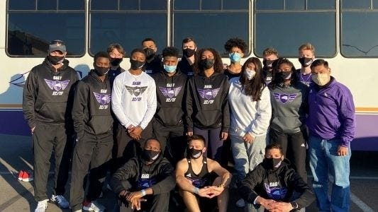 Southwestern Assemblies of God University's indoor track and field team gathers for a photo at the Friends University/Shocker Track Club 1st Chance Qualifier meet in Wichita, Kan. last weekend.