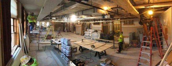 Panoramic view of work in Multi-Purpose Room facing west toward Academy Street.