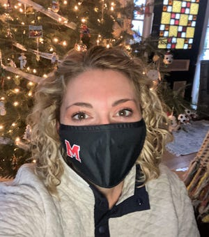 """I wear my mask so I can see my family again soon and so kids can go back to school all day, every day.""  ---Sarah Gold, mom and School Committee Chairperson"