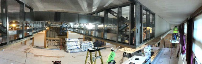 Panoramic view of work in Multi-Purpose Room facing north from center of room. All new acoustical ceiling, mechanicals and optional room divider being installed.