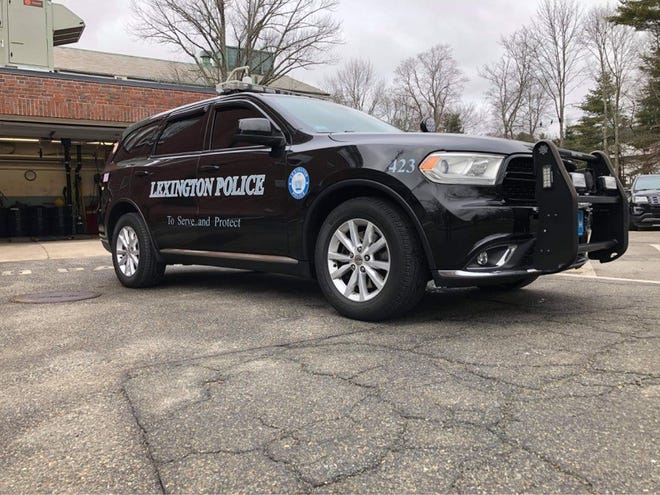 A cruiser parked at the Lexington police station on Massachusetts Avenue.