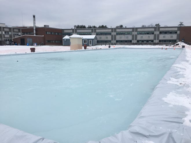 South Burlington High School unveiled an outdoor skating rink for student activities on Monday, Jan. 12, 2021. South Burlington principal Patrick Burke said the rink, which cost about $1,000 to built, will likely be open to the community soon.