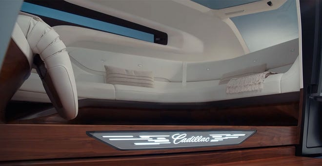 During a presentation at the 2021 Consumer Electronics Show, GM's Michael Simcoe, head of global design, showed the world the Cadillac Personal Autonomous Vehicle concept that will allow a group of people to be transported in luxury. GM gave no timeline for its launch. GM gave no timeline for its launch. This is the interior of the Cadillac Personal Autonomous Vehicle.