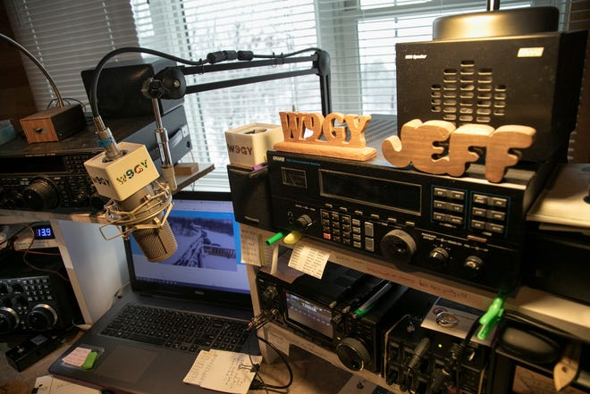 Jeff Stricker of Calumet has assembled dozens of components over the years for his amateur radio setup inside his Upper Peninsula house, as seen on Sunday Oct. 25, 2020.