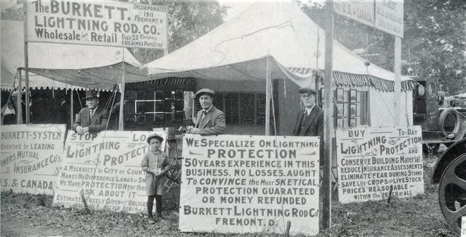 In 1922, the Burkett Lightning Rod Company set up its wares on the fairground in Fremont.