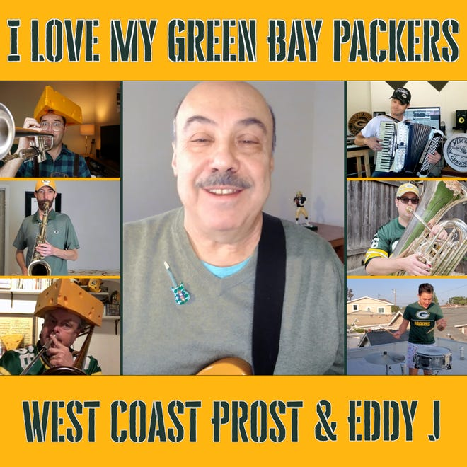 "Milwaukee musician Eddy J Lemberger, center, joined members of the West Coast Prost band from Los Angeles to do an updated version of his 1993 classic polka ""I Love My Green Bay Packers."" They pulled off the whole project remotely in four days."