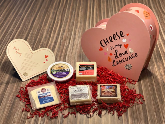 Heart-shaped boxes filled with five Wisconsin cheeses and a cheesy pun-filled poem will be given away in the For The Love Of Cheese contest.