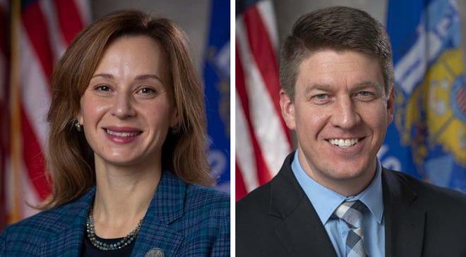 Democratic Rep. Kristina Shelton, left, and Republican Sen. Eric Wimberger of Green Bay