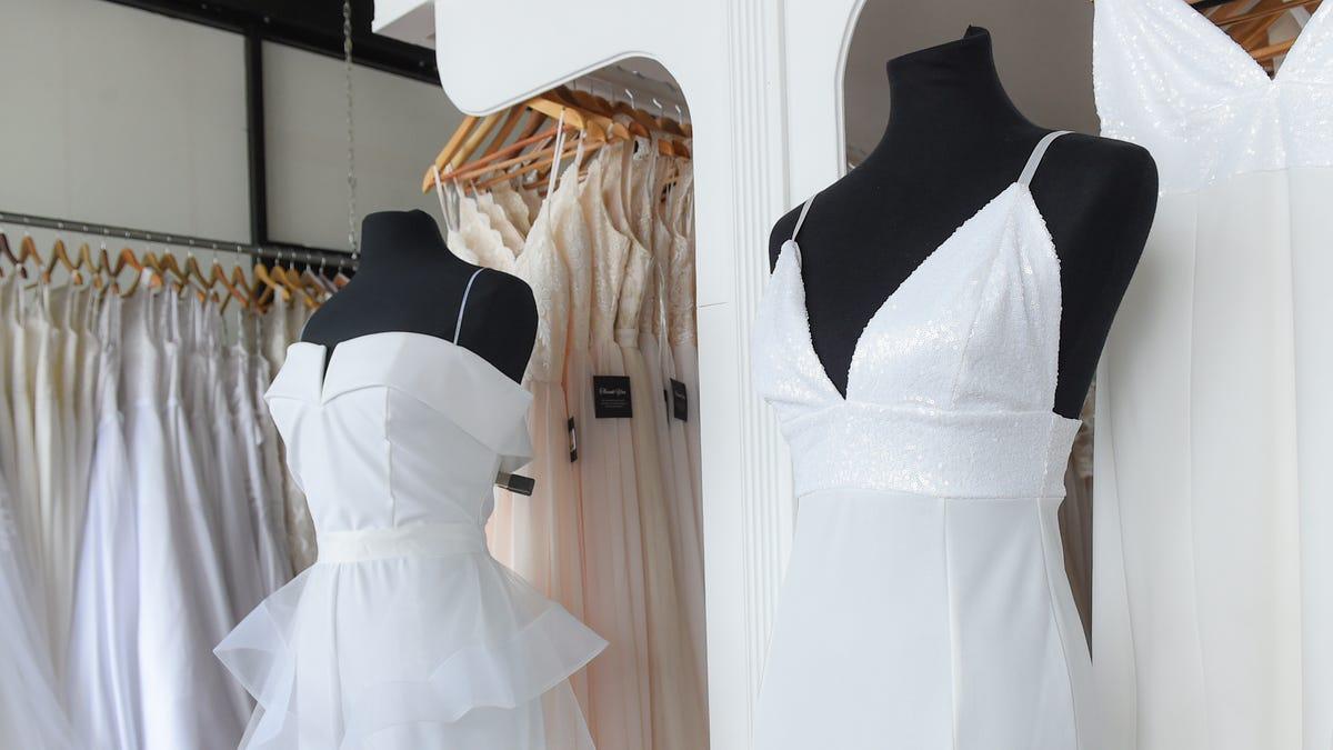 Wedding ceremony apparel at Blush Bridal and BLU