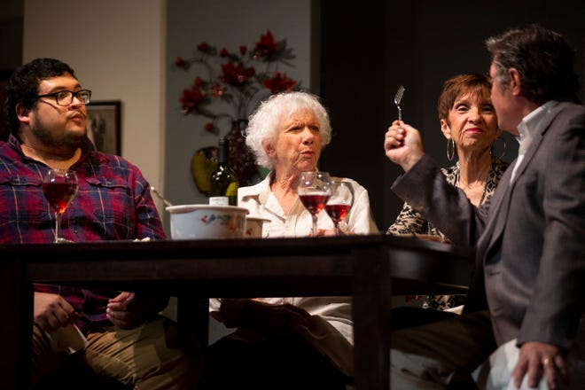 """From left to right, Ed Marin, Marilyn Hilbert, Casey Cobb, and Jay Terzis act out a scene during a rehearsal of The Studio Players' production of Kenneth Lonergan's """"The Waverly Gallery,"""" directed by Paula Keenan at Joan Jenks Auditorium at the Golden Gate Community Center on Monday, January 11, 2021."""