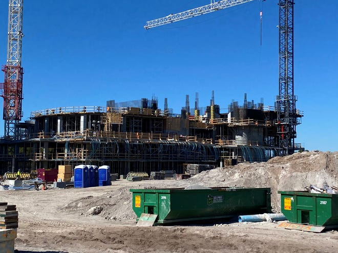 Construction of The Ronto Group's 27-floor Omega high-rise tower at Bonita Bay is progressing rapidly.