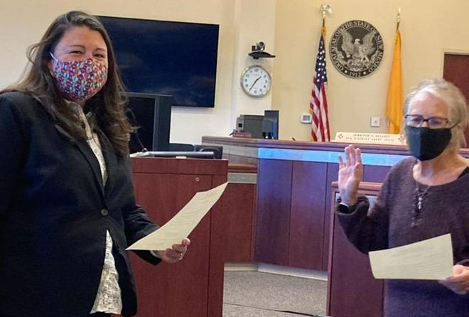 Mary Lou Cameron (right) was sworn in on Tuesday, January 5, 2021 by Jennifer E. DeLaney, Chief District Judge, Division II Sixth Judicial District Court, to the position of District 2 School Board Member for Deming Public Schools.