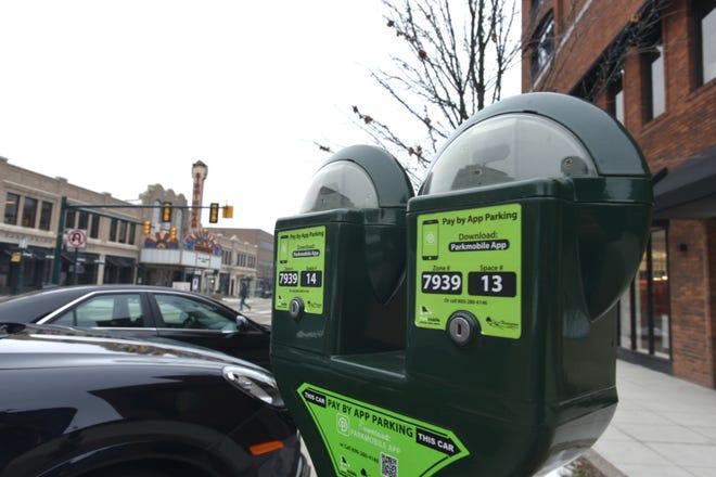 A parking meter along Old Woodward Avenue in Birmingham.