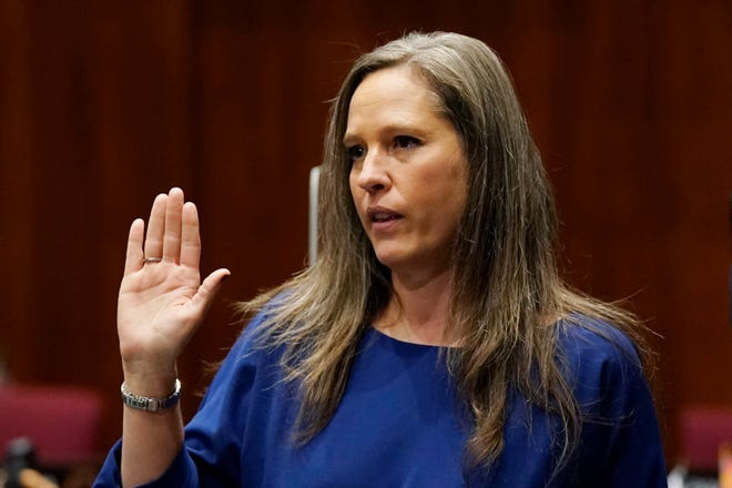 Rep. Shawnna Bolick, R-Phoenix, is sworn in during the opening of the Arizona Legislature at the state Capitol Monday, Jan. 11, 2021, in Phoenix.