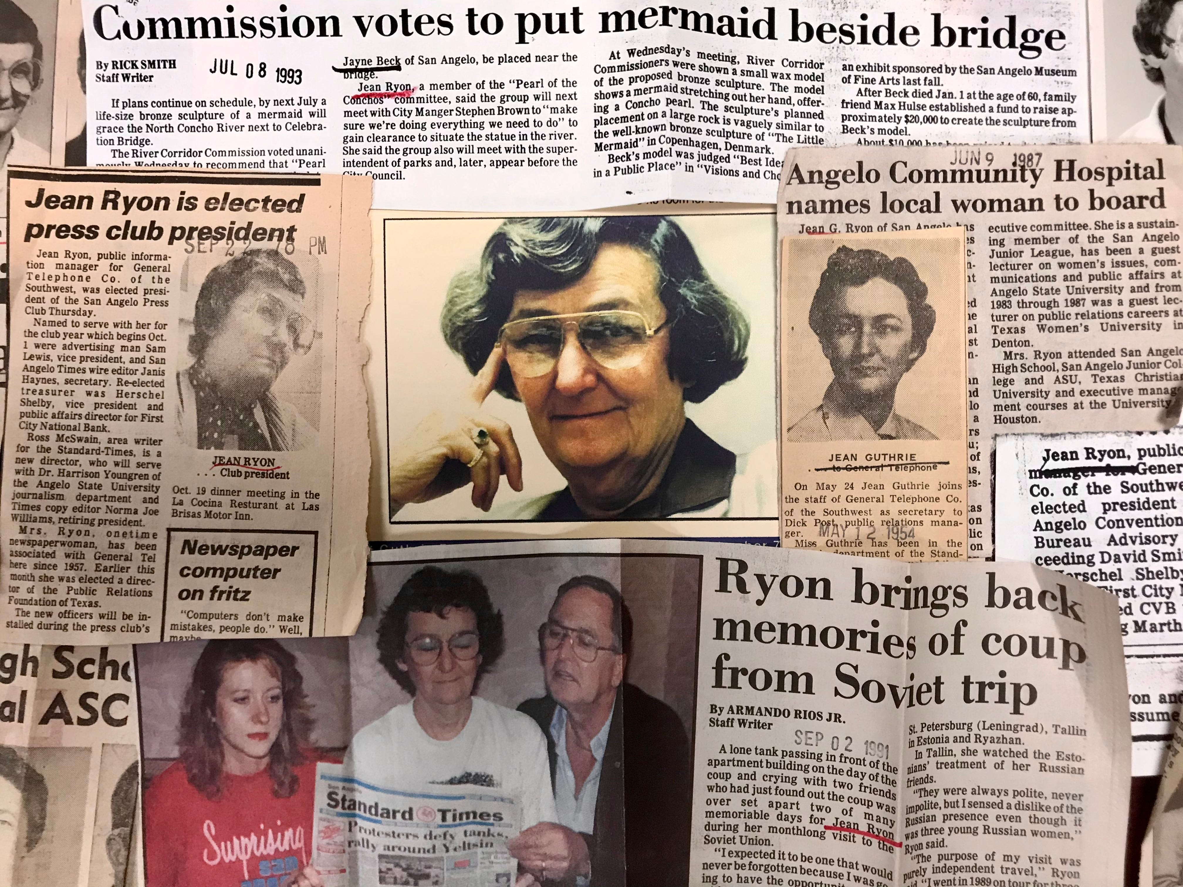 A collage of articles and memorabilia written about Jean Guthrie Ryon, who died Jan. 4, 2021, from Covid. Ryon was 97, and served as a San Angelo city council member and on numerous boards and organizations promoting San Angelo.