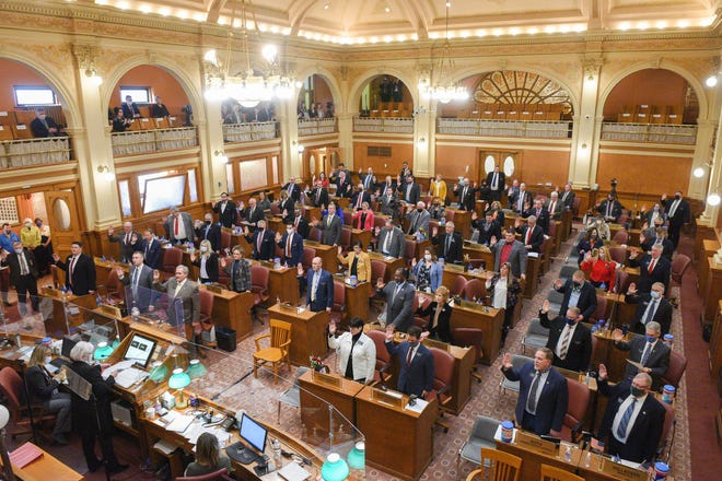 Members of the House of Representatives are sworn in on Tuesday, January 12, at the South Dakota State Capitol in Pierre.