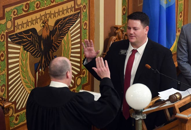 Speaker of the House Spencer Gosch is sworn in on Tuesday, January 12, in the House of Representatives at the South Dakota State Capitol in Pierre.
