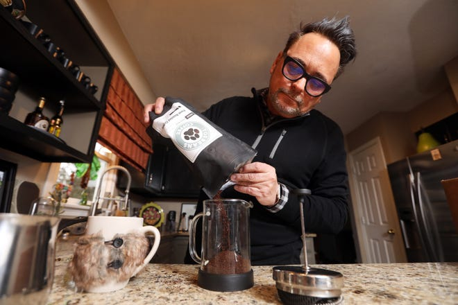 Steve Foreman pours some of his Toe Beans Coffee into a French press. Foreman, a member of Zanesville City Council, assistant superintendent of Zanesville City Schools and author, will also be offering videos on how to properly prepare coffee.