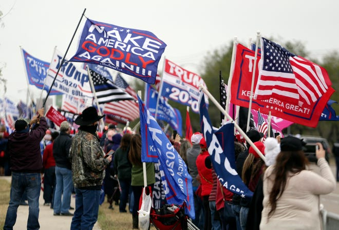Supporters of President Donald Trump on Jan. 12, 2021, in McAllen, Texas, where he toured the U.S.-Mexico border wall.