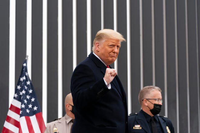 President Donald Trump tours a section of the U.S.-Mexican border wall Jan. 12 in Alamo, Texas.
