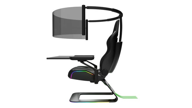 Razer's Project Brooklyn concept gaming chair has a 60-inchflexible OLED panoramic display that rolls out and retracts.