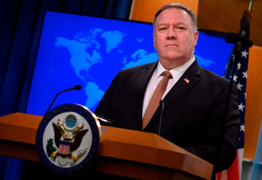 In this file photo taken on March 25, 2020 US Secretary of State Mike Pompeo speaks during a press conference at the State Department in Washington, DC. Secretary of State Mike Pompeo said January 11, 2021 he was placing Cuba back on a blacklist of state sponsors of terrorism, a last-minute roadblock to efforts by President-elect Joe Biden's to ease tensions.