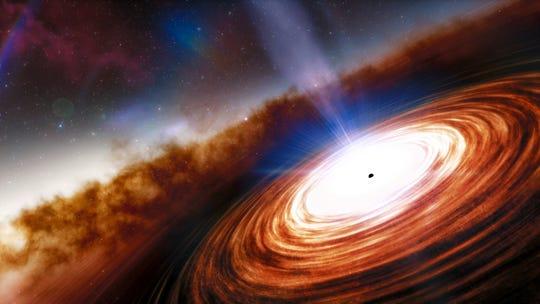 Uma ideia artística do quasar, um dos objetos mais poderosos e energéticos do universo.  É alimentado por um buraco negro supermassivo que pesa mais de 1,6 bilhão de vezes a massa do nosso sol.