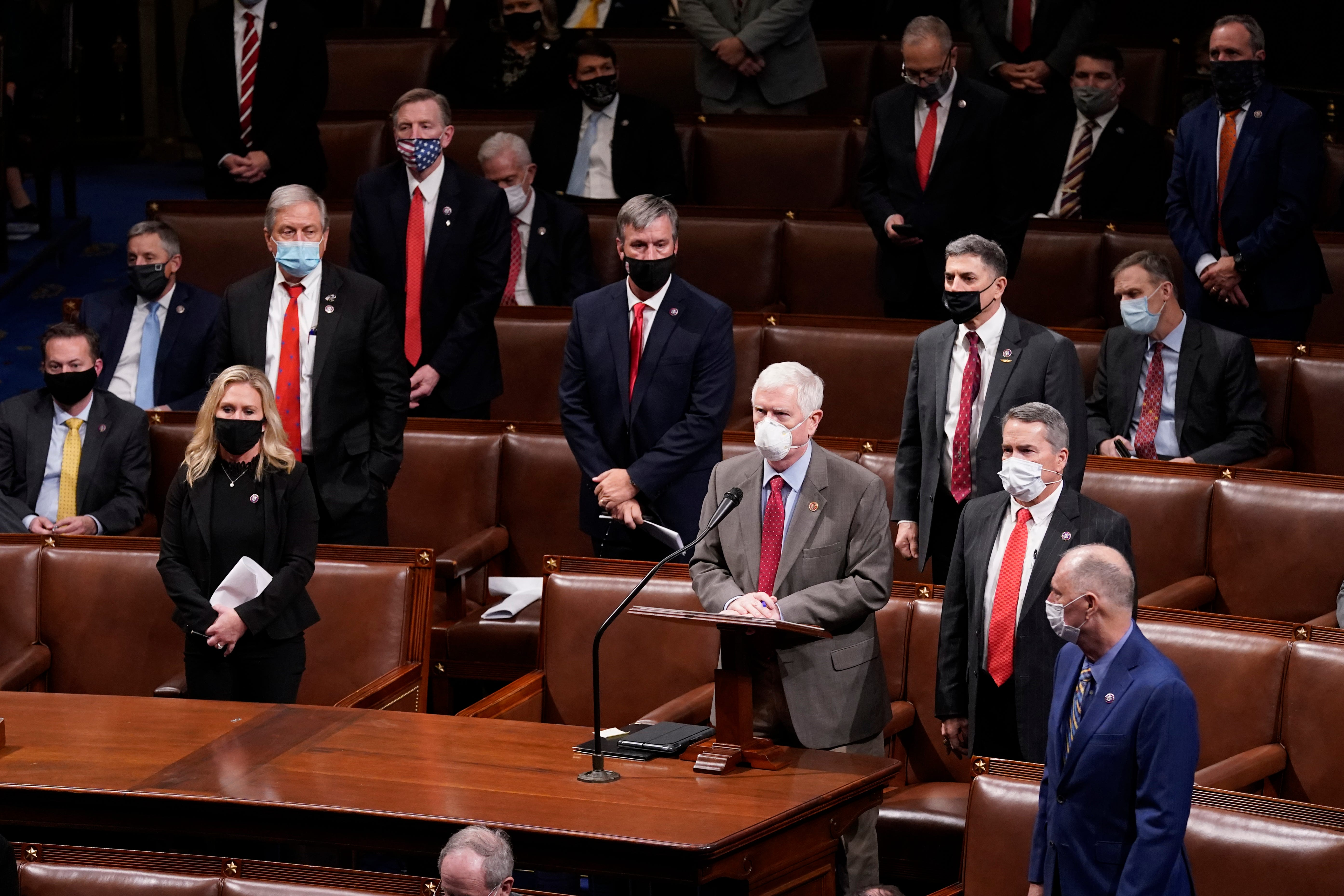 Rep. Mo Brooks, R-Ala., objects to confirming the Electoral College votes from Nevada during a joint session of the House and Senate to confirm the Electoral College votes cast in November's election, at the Capitol, early Thursday, Jan 7, 2021, in Washington. (AP Photo/Andrew Harnik) ORG XMIT: DCAH352