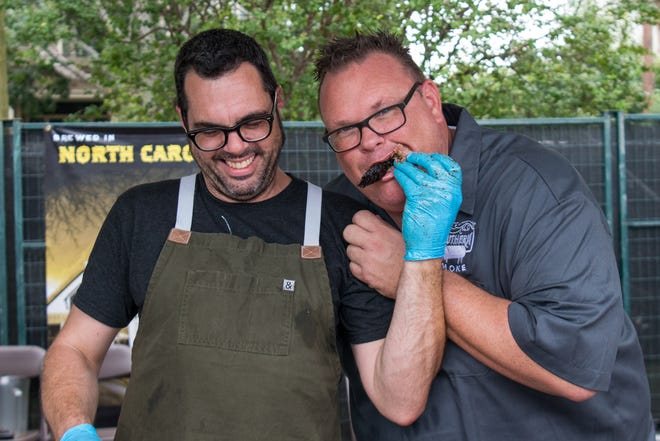 Aaron Franklin (left) and his festival, Hot Luck, have partnered with Houston chef Chris Shepherd.