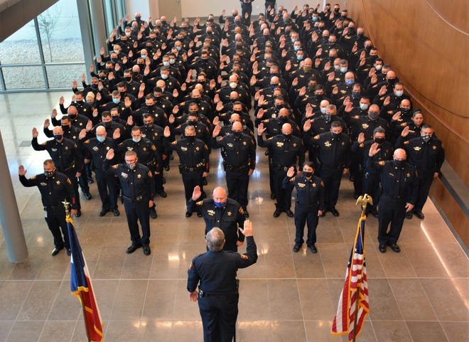 Nearly 200 Hays County Sheriff's deputies were sworn in during a special ceremony in San Marcos on Monday.