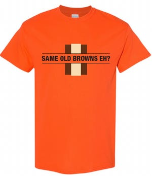 Rubber City Clothing in Akron is offering a pair of new Browns-inspired T-shirts for the playoffs.