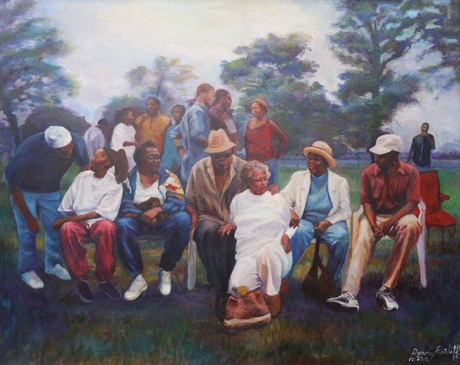 """Curated Courthouse has purchased a print of Akron artist Danny Ratcliff's oil painting """"We Family Love."""""""