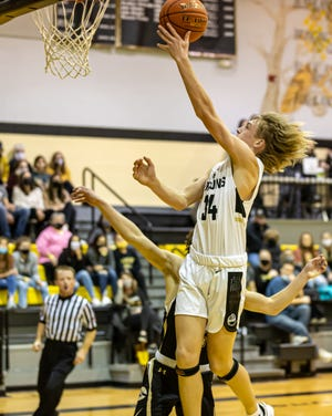 The Bushland Falcons got the team's first district win Tuesday, with a 68-54 win over Canadian. [Tom Carver/for the Amarillo Globe-News]
