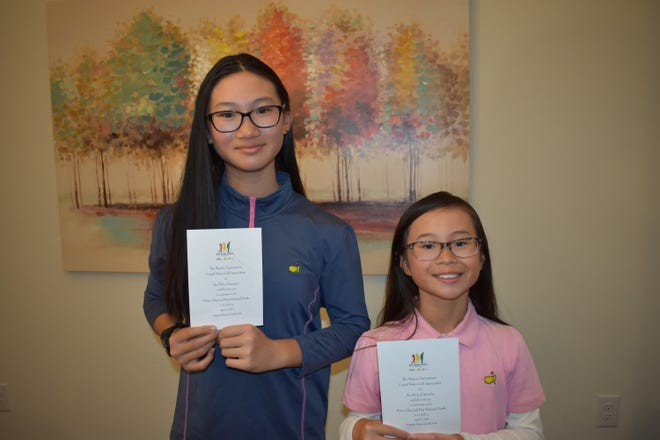 Amelie (left) and Alexandra Phung pose with their Drive, Chip and Putt invitations on Jan 12, 2021. [SPECIAL]