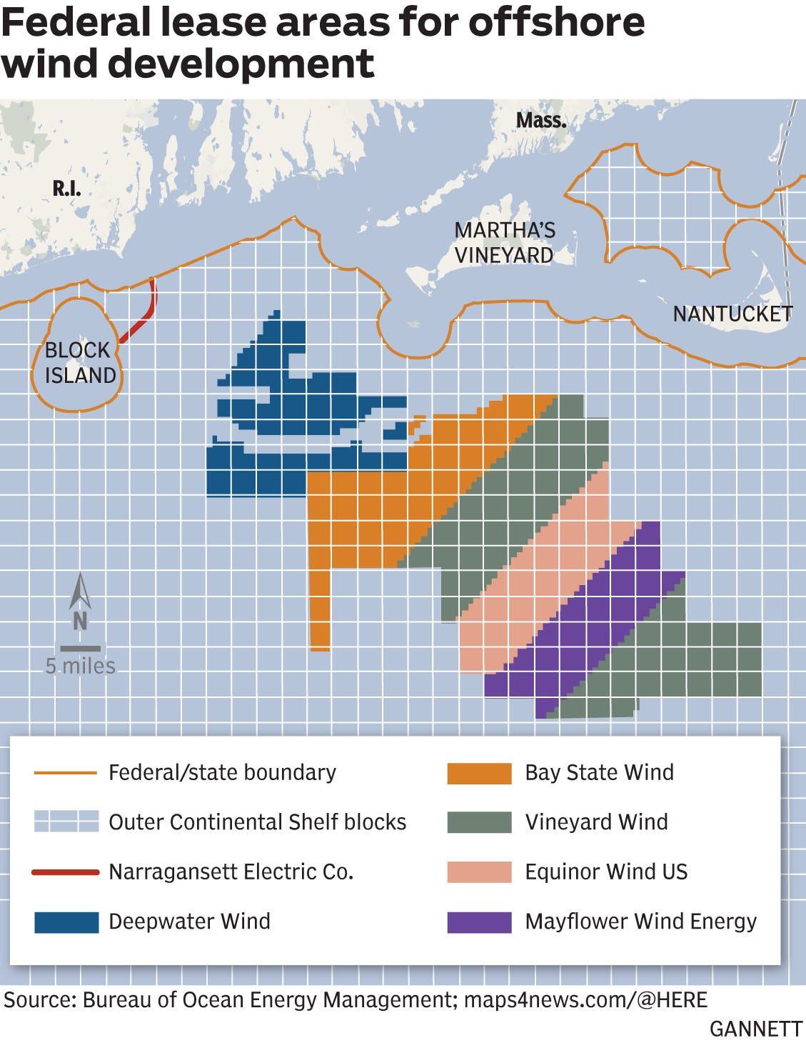 Federal lease areas for offshore wind developments off Martha's Vineyard and Nantucket.