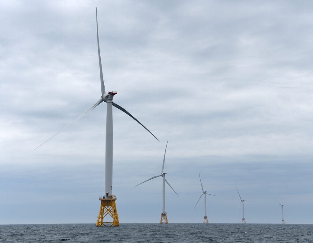 Deepwater Wind, based in Providence, Rhode Island, built a five-turbine wind farm off the Rhode Island coast. The turbines generate 30 megawatts of power and are part of the only offshore wind farm in the U.S. President-elect Joe Biden's climate change plan includes a reliance on wind and other renewable energy.