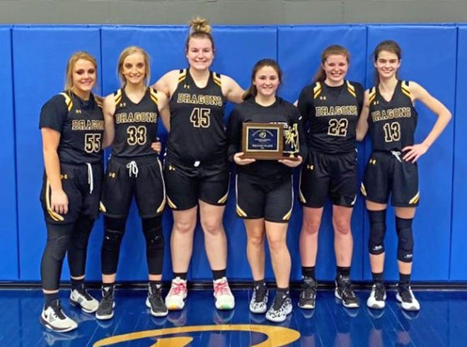 The Bunceton Lady Dragons grabbed second place in the recent New Franklin Tournament. Team members, from left, are Kylee Myers, Madelynn Myers, Maddie Brandes, Kelsey Watson, Madison Brown and Maggie Wood.